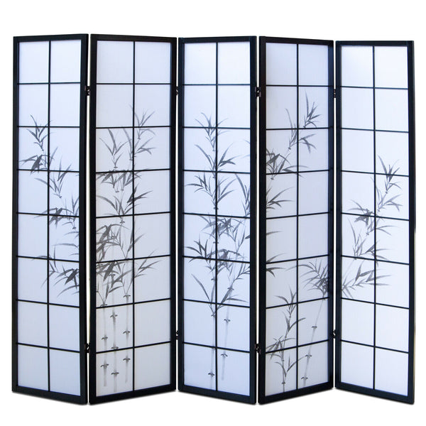 Black Bamboo Shoji Screen with 5 Panels