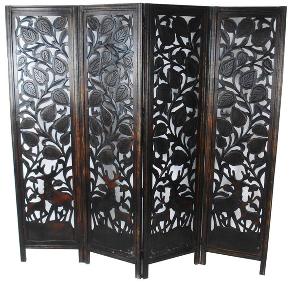 Hand Carved Elephant Design Room Divider - Dark Brown