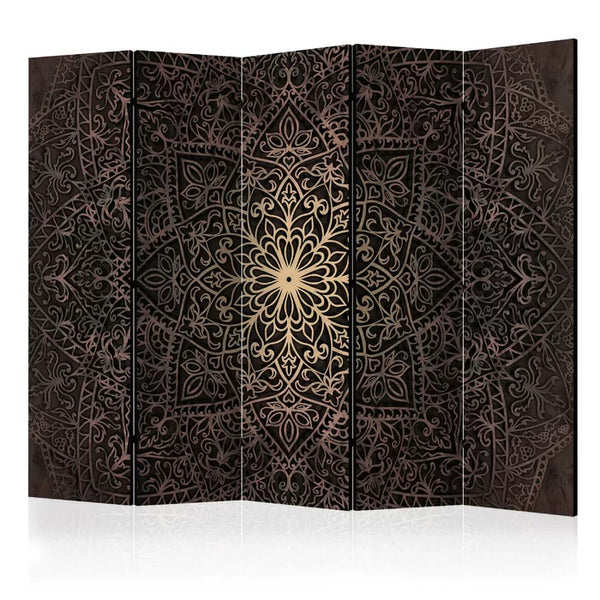Mandala Room Divider - Gold/Black - 5 Panel