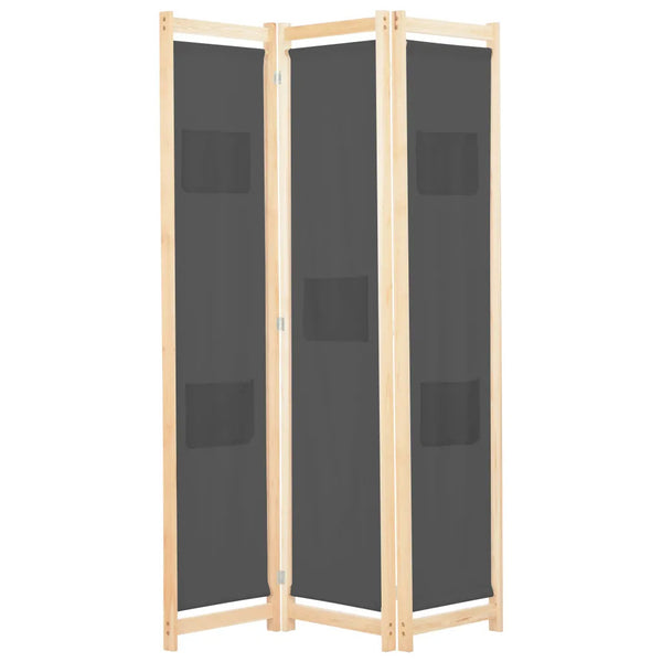 Alamo Room Divider Screen - 3 Panel - Grey