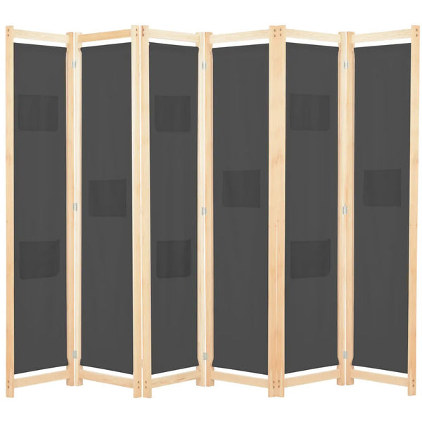 Alamo Room Divider Screen - 6 Panel - Grey