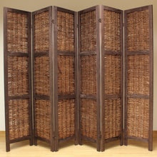 6 Panel Brown Wooden Frame Room Divider