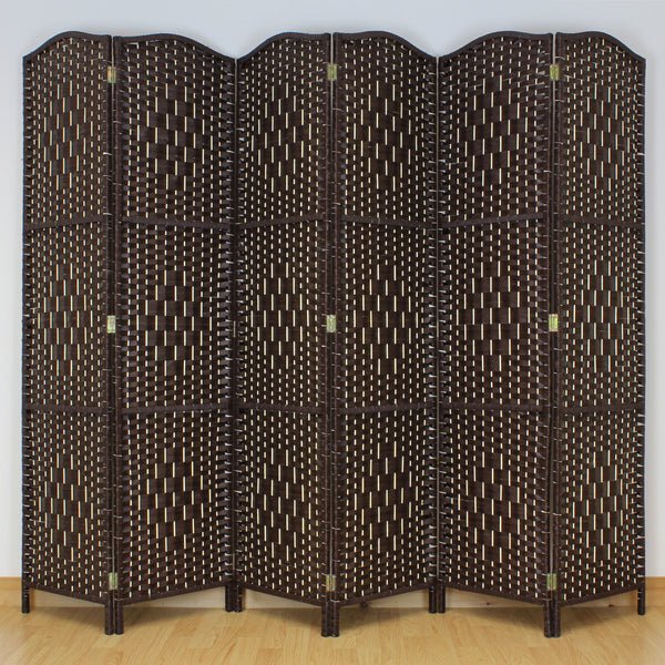 6 Panel Dark Brown Wooden Frame Room Divider