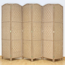 6 Panel Natural Brown Wicker Room Divider