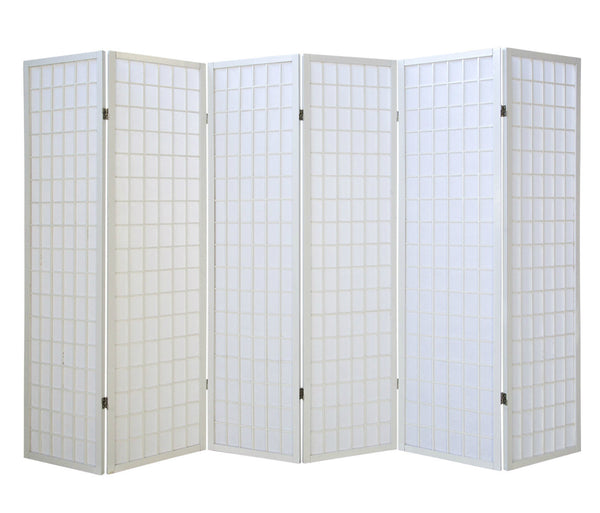 White Shoji Screen - 6 Panels