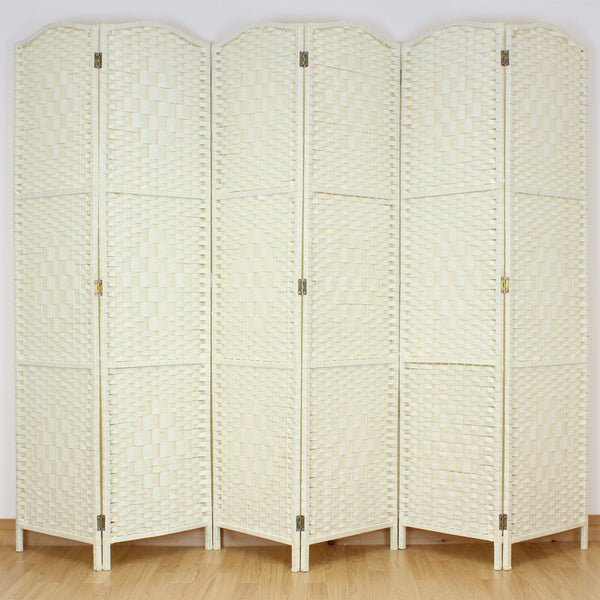 Light Cream 6 Panel Wicker Room Divider