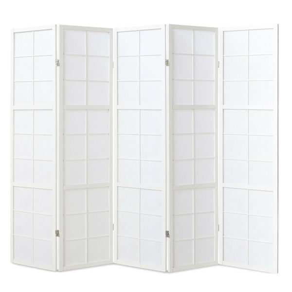 White Window Shoji Room Divider Screen - 5 Panel