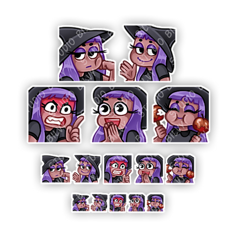 PREMADE EMOTES | Purple Haired Witch