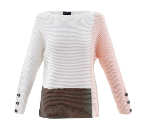 Marble pink colour block knit jumper 5926-120 was £52.50