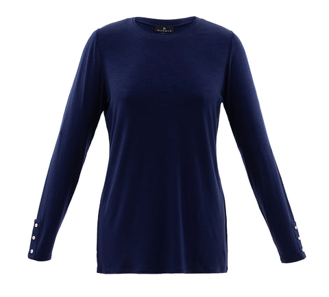 Marble navy basic long sleeve top  5929-103