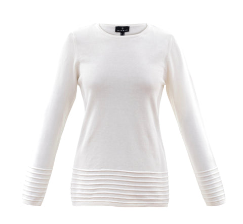 Marble off white jumper with rib detail 5893-104