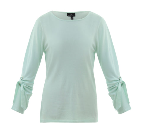Marble mint jumper with knot sleeve 5824-188
