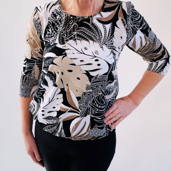 Sunday bubble hem printed top brown