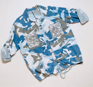 Carly Camo Sequin Shirt Blues