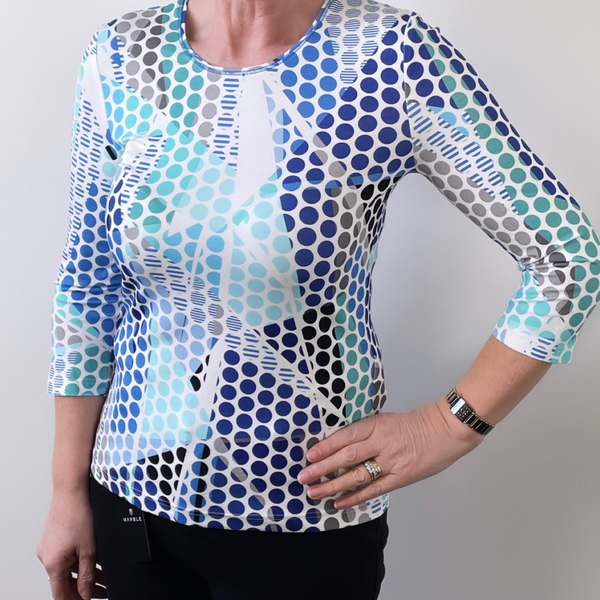 Barbara Lebek Blue Shade Circle Top 75120012
