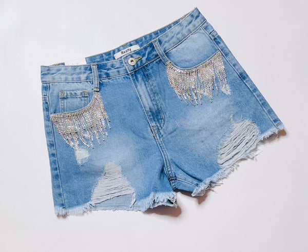 Ebony Denim Diamanté Detailed Shorts