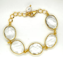 Load image into Gallery viewer, Gem Bracelet with Pearl Drop, Adjustable
