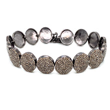 Load image into Gallery viewer, Sterling Silver Black Rhodium & Diamond Oval Shaped Bracelet