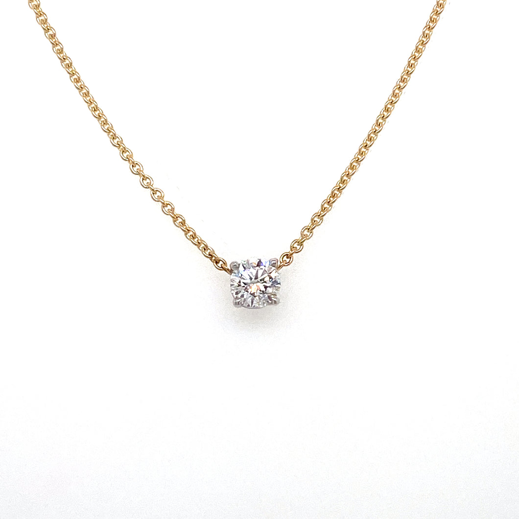 14kt Two Tone Round Brilliant Cut Diamond Pendant