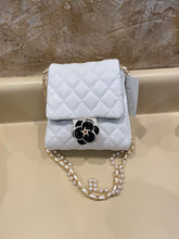 Load image into Gallery viewer, Vegan Quilted Mini Handbag with Pearl Crossbody Strap