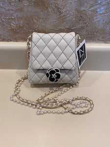 Vegan Quilted Mini Handbag with Pearl Crossbody Strap