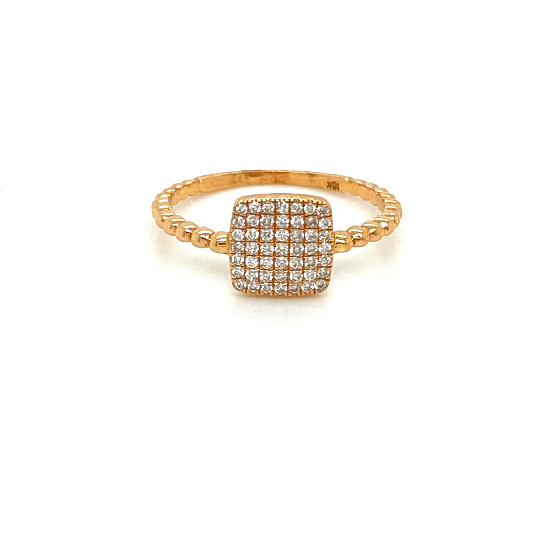 14kt Rose Gold Pave Diamond Ring