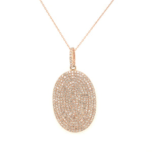 14Kt Rose Gold Oval Pave Pendant & Chain