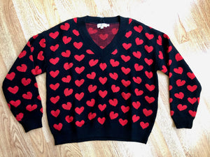 Molly Red Heart Sweater