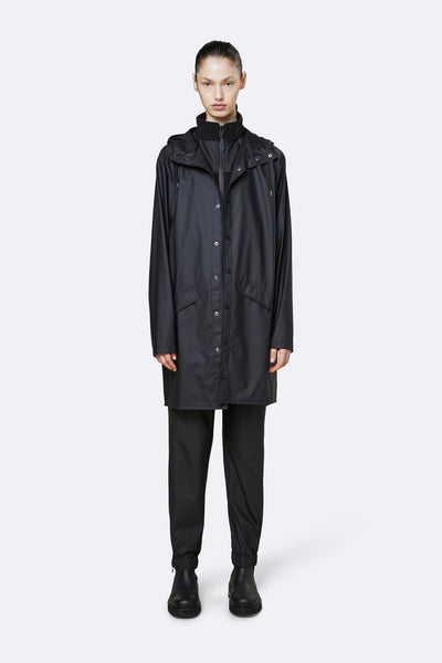 Long 'Rains' Waterproof Jacket: BLACK
