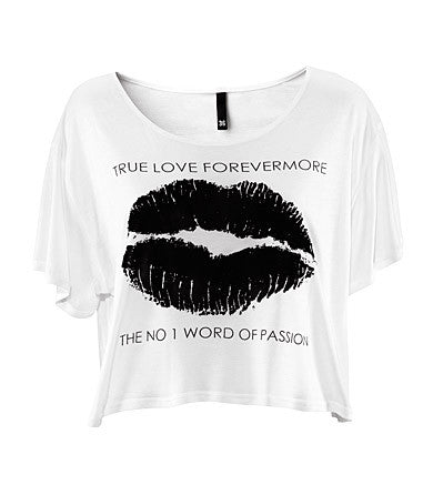 CROP TOP Black Lip TRUE LOVE FOREVERMORE Short-Sleeve [WHITE]