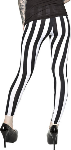 BLACK WHITE VERTICAL STRIPE LEGGINGS