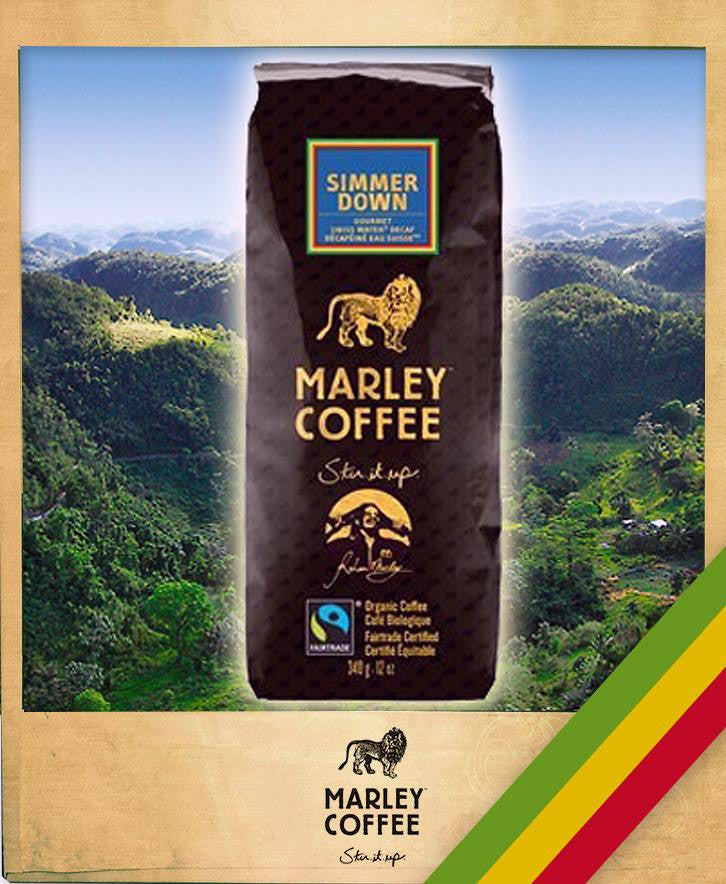 SIMMER DOWN, MARLEY DECAFFEINATED ORGANIC COFFEE, 8-OUNCE