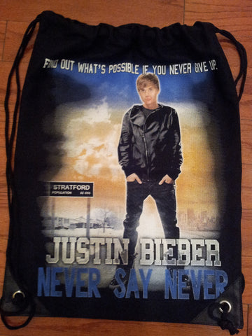 Justin Bieber Never Say Never Movie Drawstring Backpack Bag