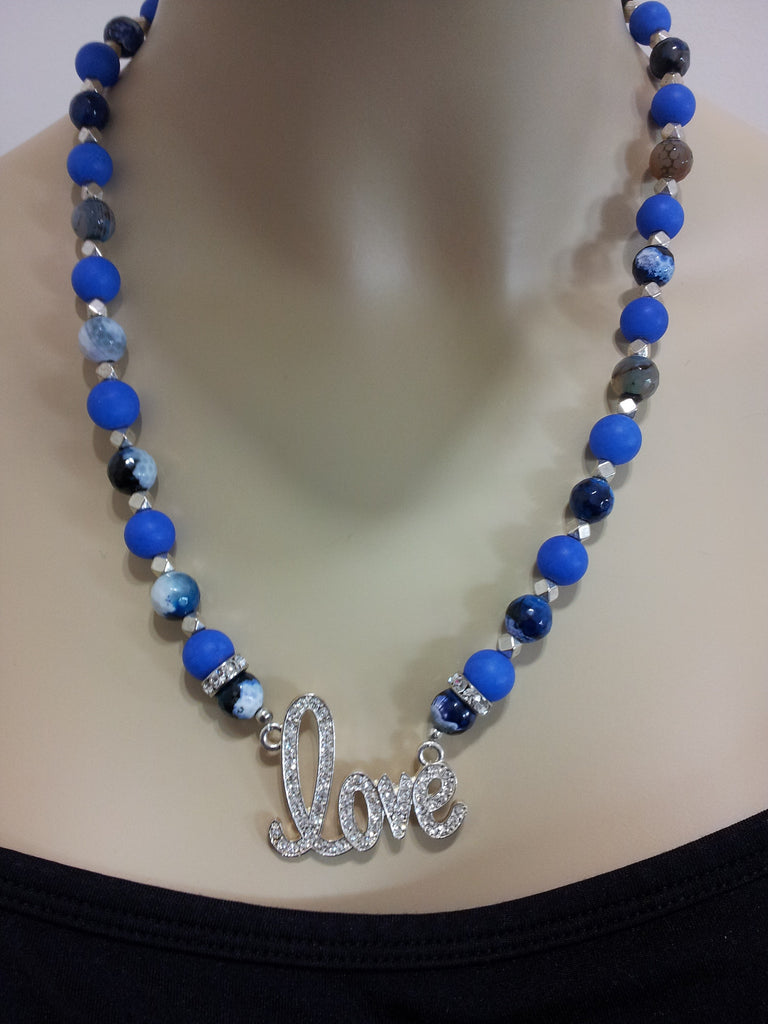 BASHMENT AUTHORITY GEMSTONE NECKLACE WITH LOVE CHARM