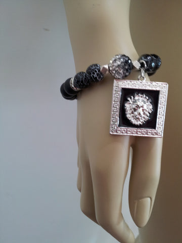 Bashment Authority Gemstone Bracelet with Lion Face charm