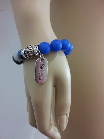 Bashment Authority Gemstone Bracelet with Believe charm