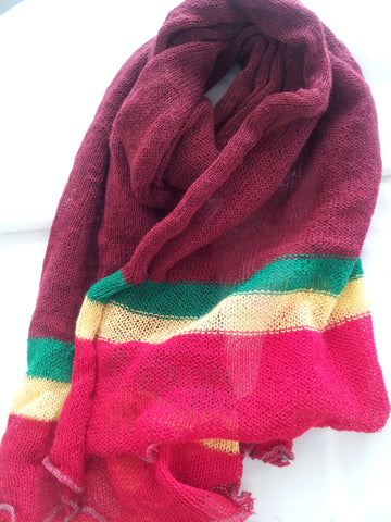 Crimson/Rasta color, Unisex Scarf