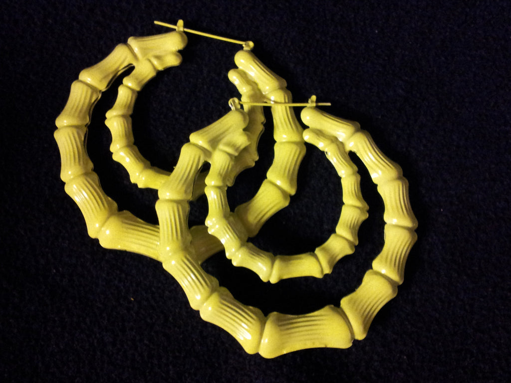 WOMEN'S YELLOW FLUORESCENT BAMBOO JOINT DOUBLE CIRCLE DROP EARRINGS