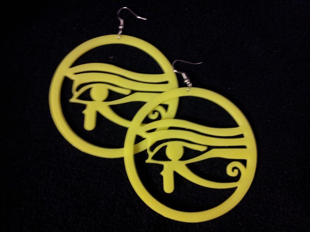 WOMEN'S YELLOW FLUORESCENT 'EYE OF HORUS' DROP EARRINGS