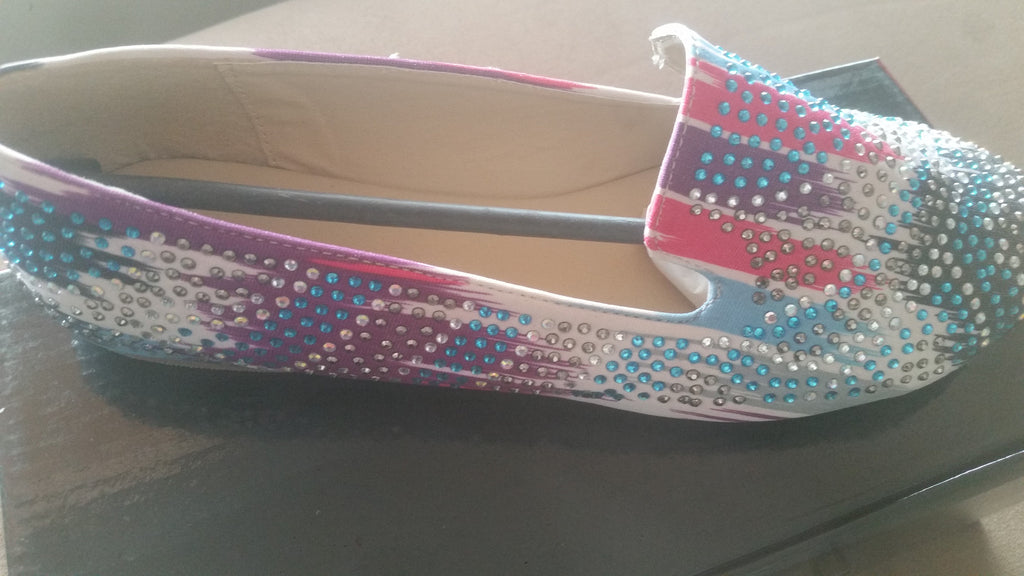 Messina-22 [ Multi-color ] Rhinestone Loafer Flats