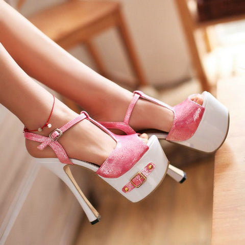 High-Heel T-Strap Platform Shoes, Pink/Glitter