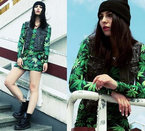 Marijuana Print Bashment Dress  [Long Sleeve Black/Multi]