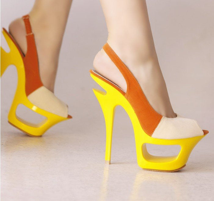 Women Orange Open/ Toe Thin Heels