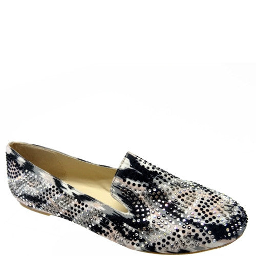 Messina-22 [ Multi-Paint-color Splat ] Rhinestone Loafer Flats