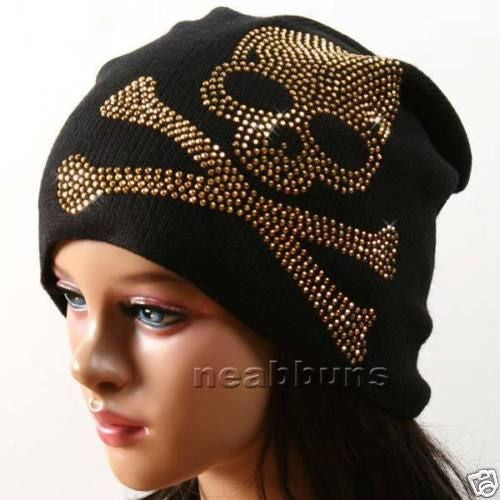 Men and Women Gold Rhinestone Skeleton logo Baggy Slouch Beanie