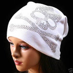 Men and Women Silver Rhinestone Skeleton logo Baggy Slouch Beanie