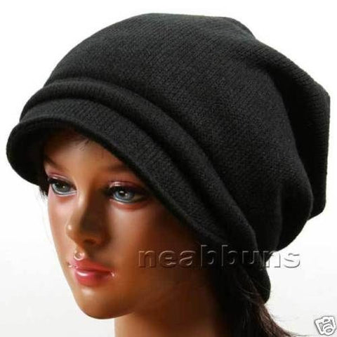 SLOUCHY BRIM BEANIE FOR WOMEN [BLACK]