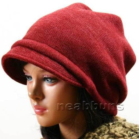 SLOUCHY BRIM BEANIE FOR WOMEN [CRIMSON]