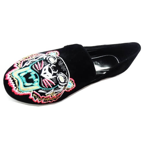 Embroider Tiger Face Design Flats Velvet Suede [ Black ]