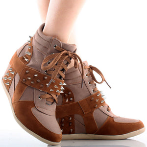 Dana-10 Studded Spike Velcro Lace Up Wedge Sneaker